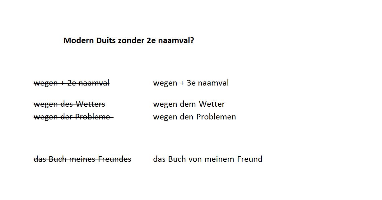 bestaat de tweede naamval nog in het Duits