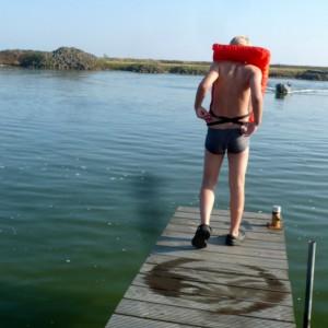 ins Wasser hinein